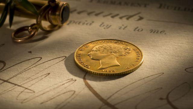 1855 Half Sovereign date side