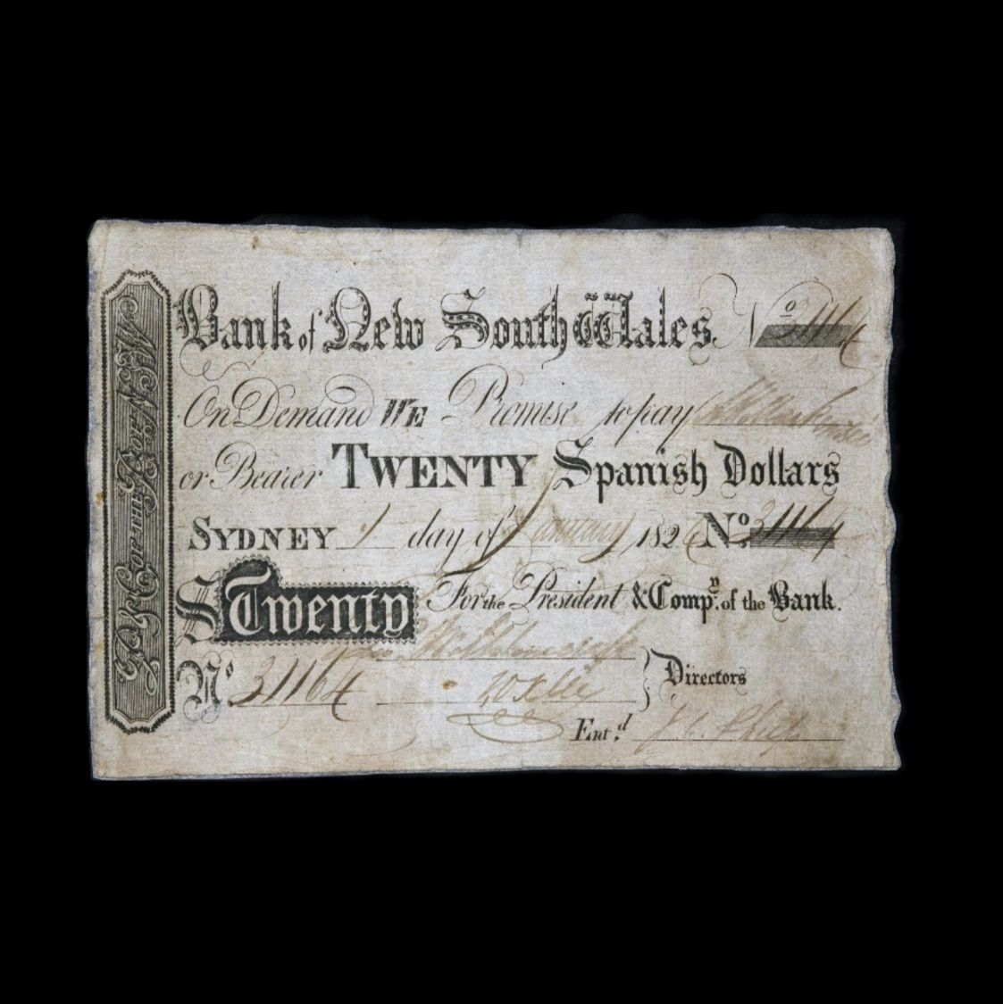 20 Spanish Dollars front view