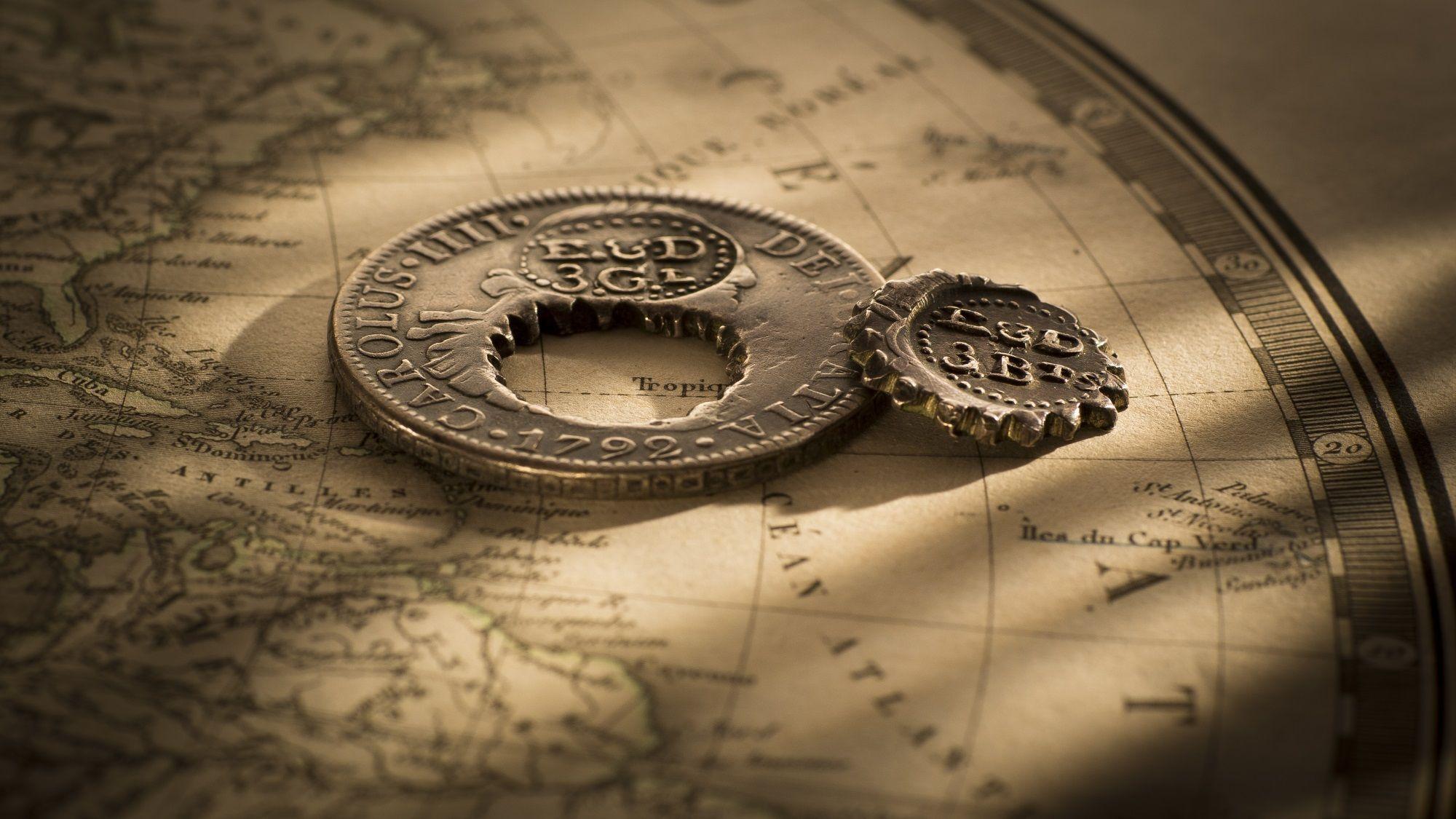 British Guiana Holey Dollar and Dump Rev