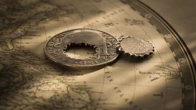British Guiana Holey Dollar and Dump Obv