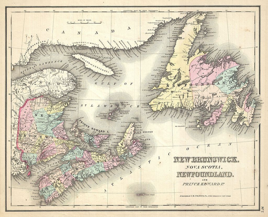 1857_Colton_Map_of_New_Brunswick_and_Newfoundland,_Canada_-_Geographicus_-_Newfoundland-colton-1857