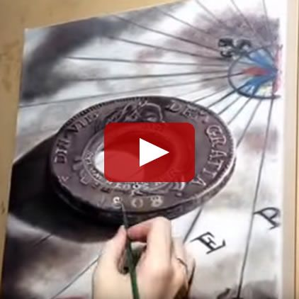 The Holey Dollar – Re-created On Canvas