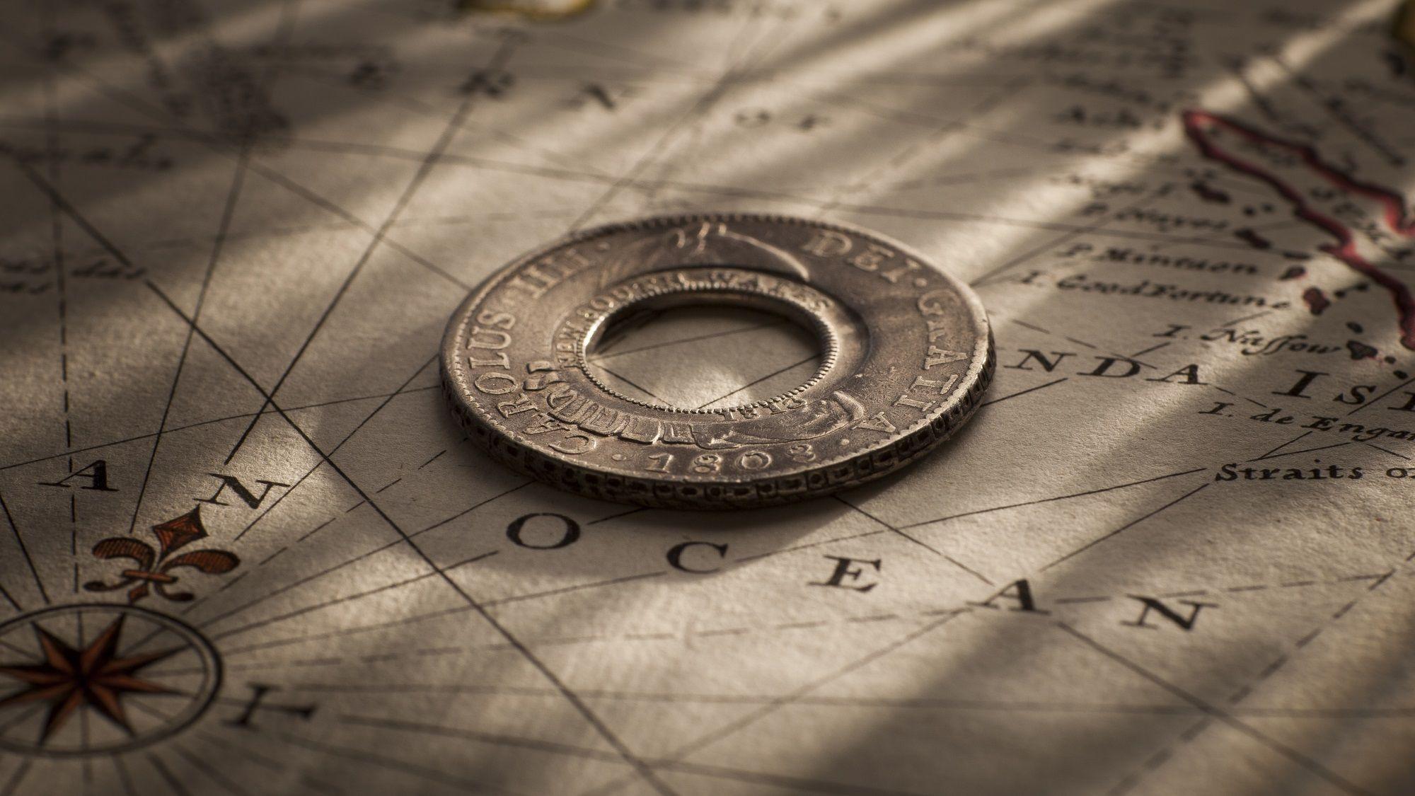 1813 Holey Dollar Charles IIII 1808-6 near EF rev SF September 2017