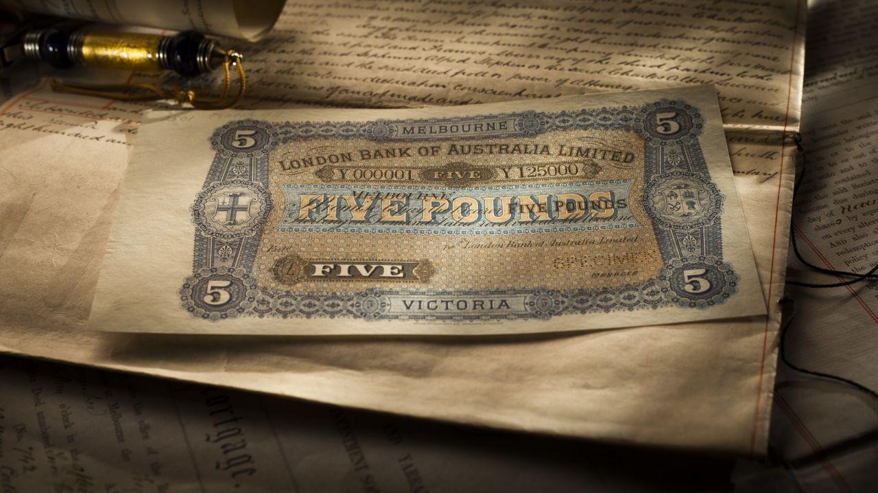 1911 London Bank of Melb £5 Specimen front b&b September 2017