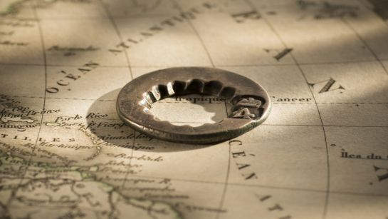 7017 1813 Circular segment from a Spanish Silver Dollar