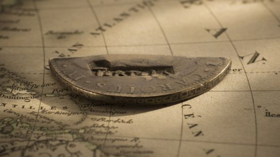 7037 Cut half spanish Silver Dollar of Tortola