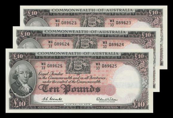 scan 4 1960 QEII £10 consec trio unc rev
