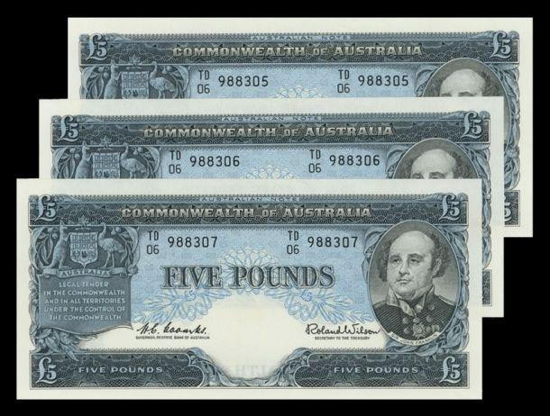 scan 3 1960 £5 Run of 3 Unc