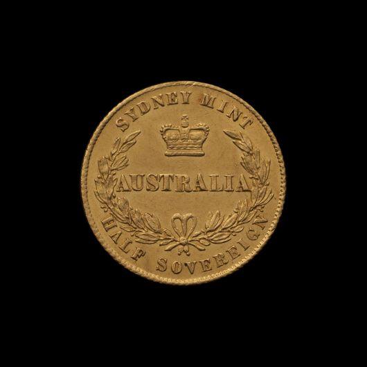 1864 Sydney Mint Half Sovereign Unc rev with Arabic 1 October 2018