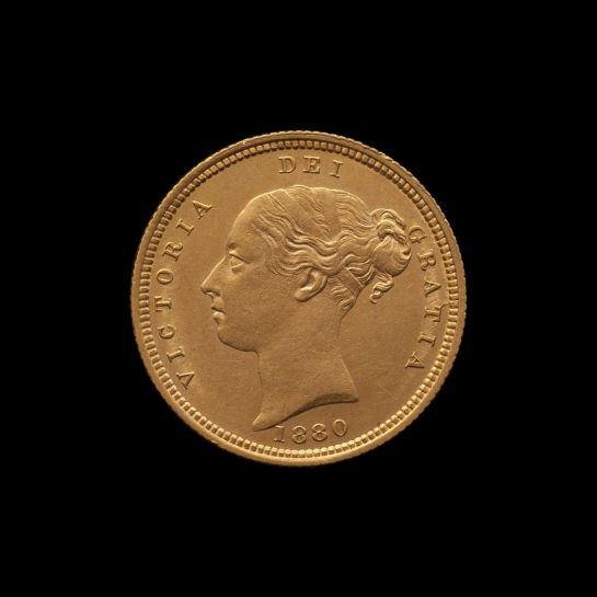 1880 Sydney Mint Half Sovereign YH Shield Choice Unc obv