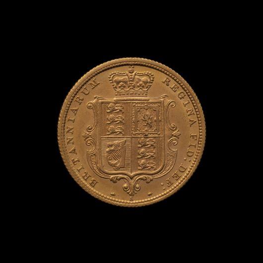 1880 Sydney Mint Half Sovereign YH Shield Choice Unc rev