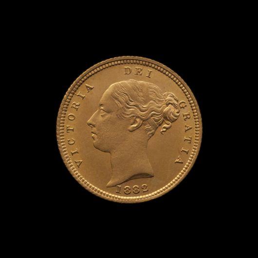 1882 Sydney Mint Half Sovereign YH Shield Brilliant Unc obv