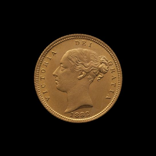 1882 Sydney Mint Half Sovereign YH Shield Brilliant Unc obv