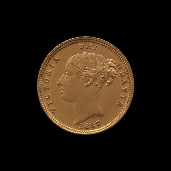 1887 Melbourne Mint Half Sovereign YH Shield Choice Unc obv
