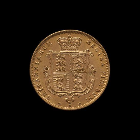 1887 Melbourne Mint Half Sovereign YH Shield Choice Unc rev