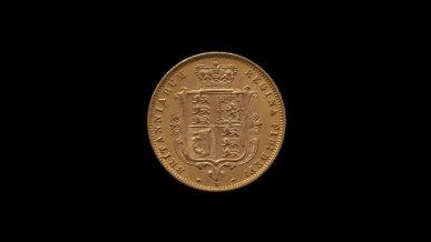 1887 Melbourne Mint Half Sovereign YH Shield Choice Unc rev B & B October 2018