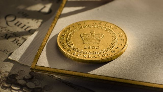 1852 Cracked Die Adelaide Pound COO