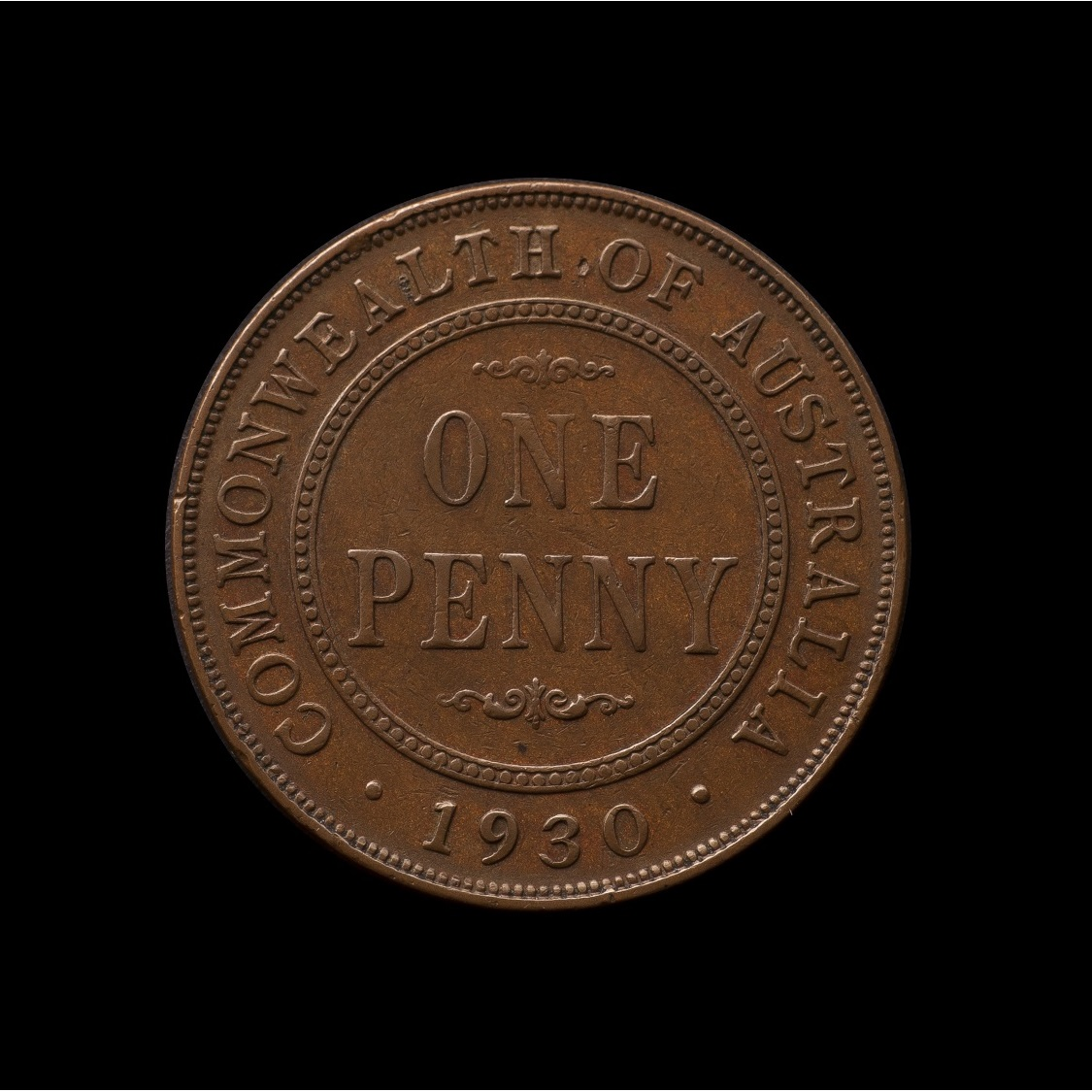 1930 Penny Very Fine reverse tech February 2019