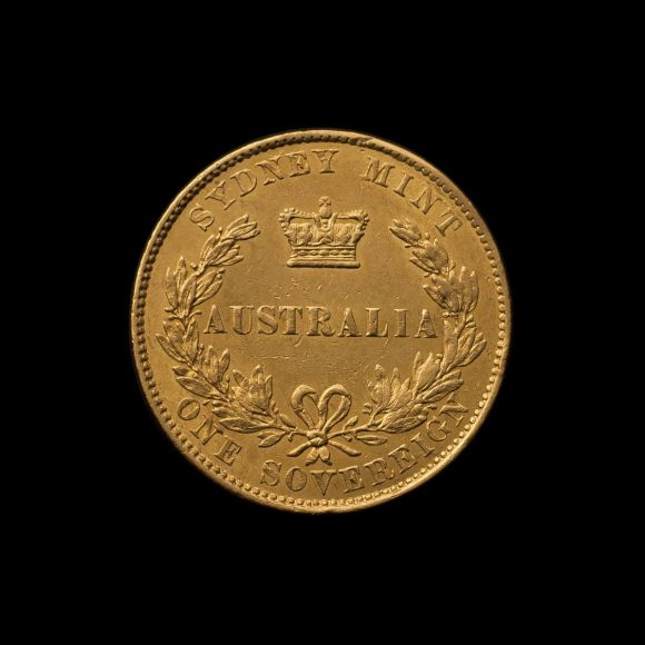1855 Sydney Mint Sovereign gEF- aUnc reverse February 2019