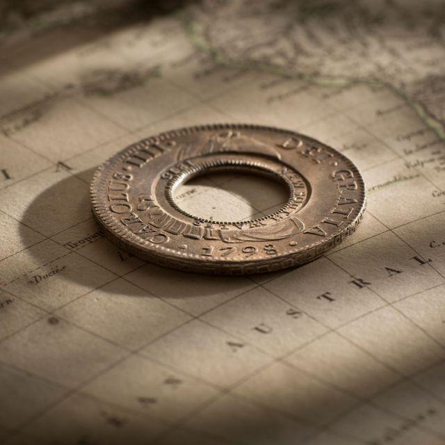 1813-Holey-Dollar-1798-Charles-IIII-good-EF-obverse-July-2019