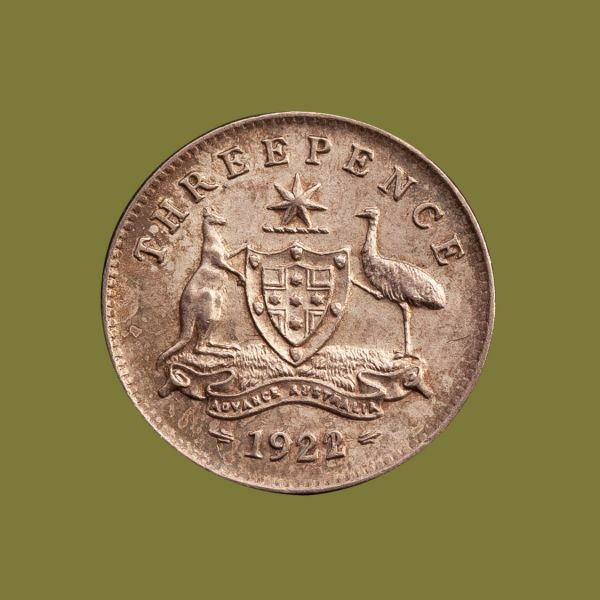1922---21-Overdate-Threepence-about-Unc-Rev-TECH-36898-April-2021