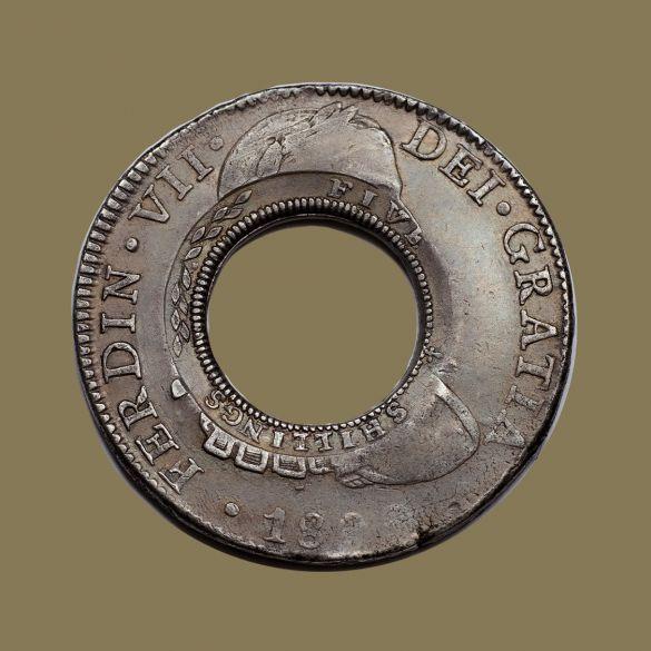 1813-Holey-Dollar-EF-Ferdinand-VI-1809-Mexico-REV-TECH-2-40760-July-2021