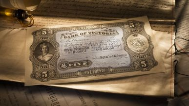 Circa 1900, Bank of Victoria Ltd Five Pounds Specimen