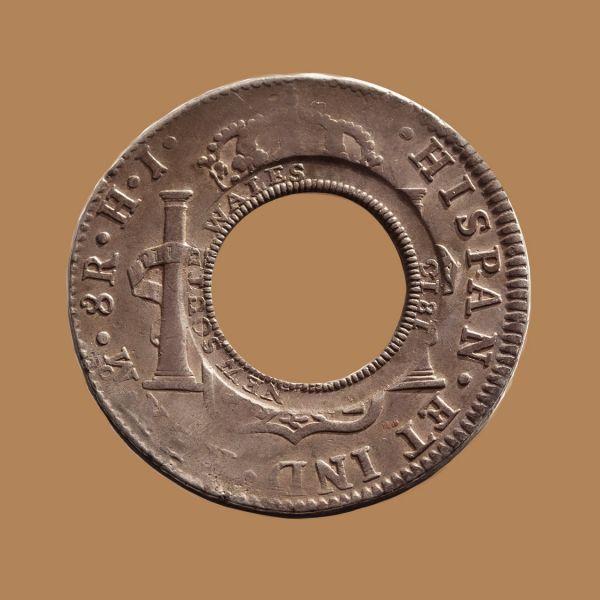 1813-Holey-Dollar-EF-Ferdinand-VII-1809-Mexico-Mint-Silver-Dollar-Obv-TECH-42724-October-2021