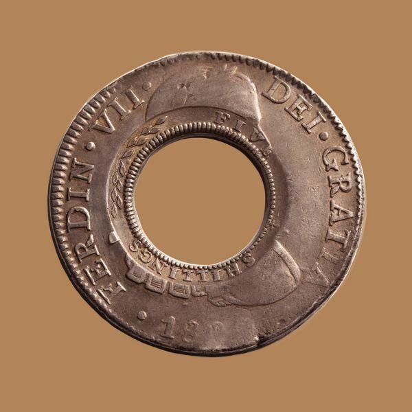 1813-Holey-Dollar-EF-Ferdinand-VII-1809-Mexico-Mint-Silver-Dollar-Rev-TECH-42724-October-2021