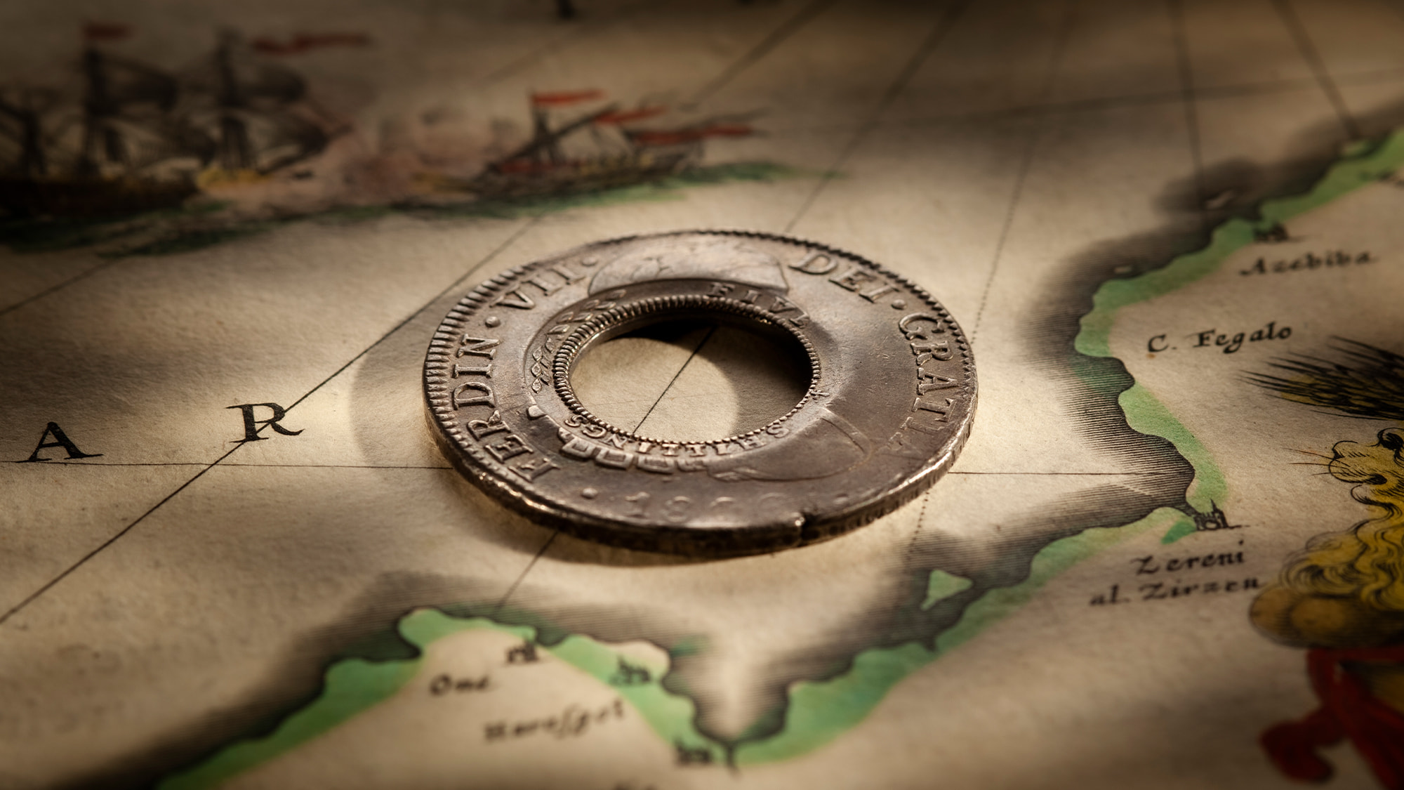 1813-Holey-Dollar-EF-Ferdinand-VII-1809-Mexico-Mint-Silver-Dollar-Rev-42724-October-2021
