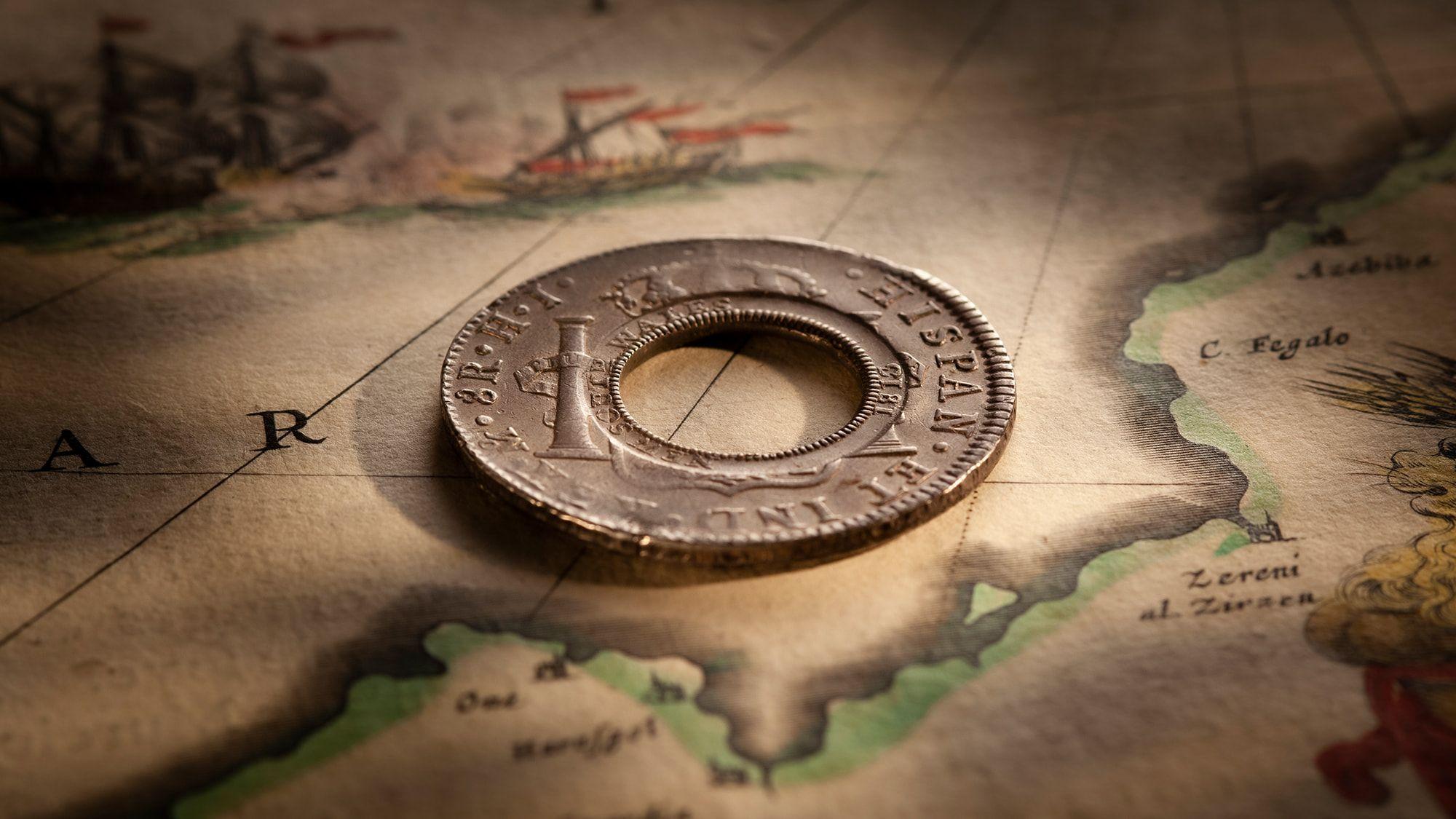 1813-Holey-Dollar-EF-Ferdinand-VII-1809-Mexico-Mint-Silver-Dollar-Obv-42724-October-2021