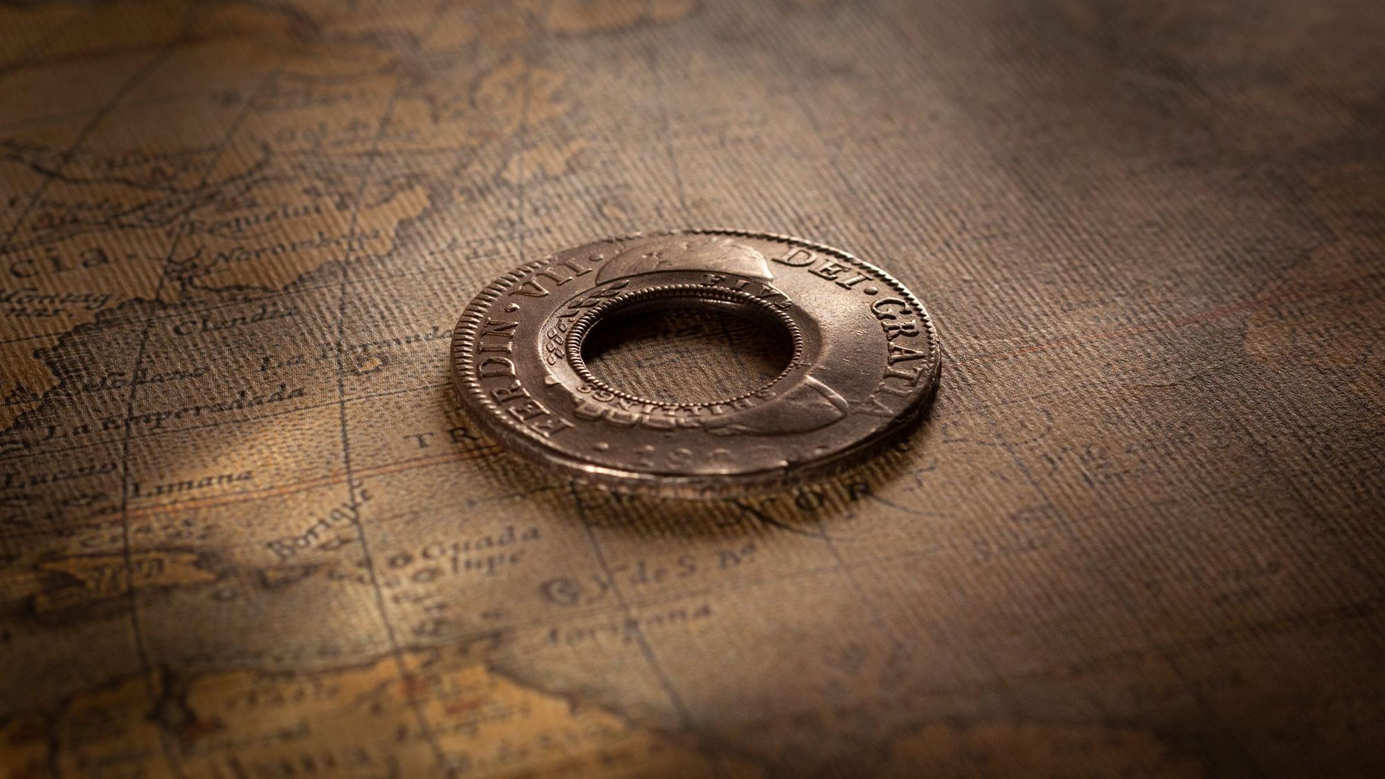 1813-Holey-Dollar-created-from-1809-Ferdinand-VII-aEF-OBV-43318-October-2021